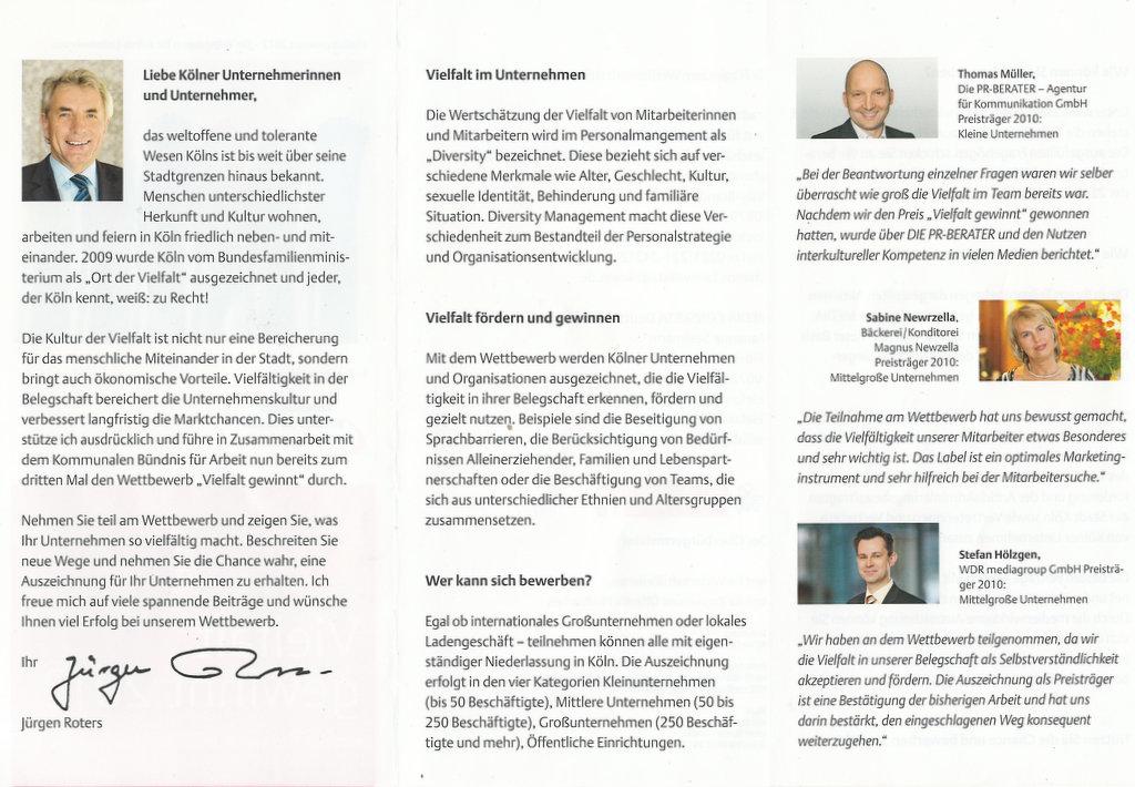 Informations-Flyer zu Vielfalt gewinnt 2012